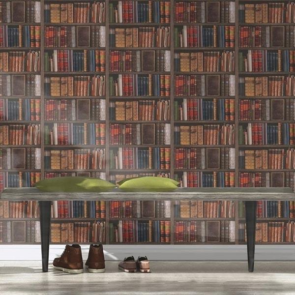 کاغذ دیواری طرح چوب با نقش کتابخانه