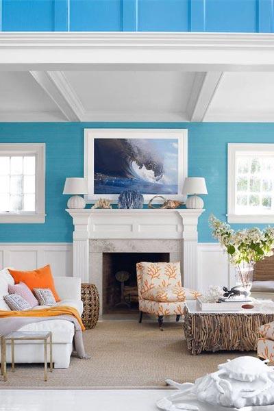 کاغذ دیواری پذیرایی با رنگ آبی فیروزه ای