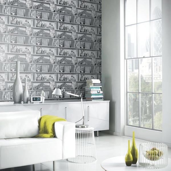 کاغذ دیواری طرح چوب با نقشی هنری
