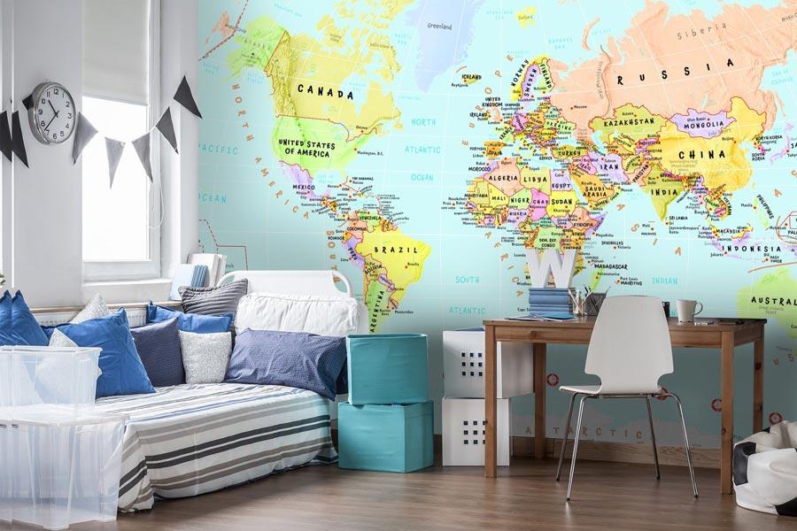 کاغذ دیواری اتاق کودک با طرح نقشه جهان