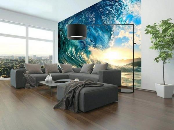 کاغذ دیواری سه بعدی با طرح دریا