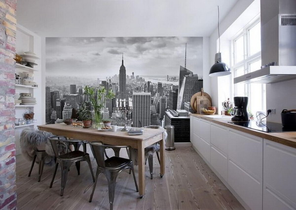 کاغذ دیواری سه بعدی با طرح مناظر شهری
