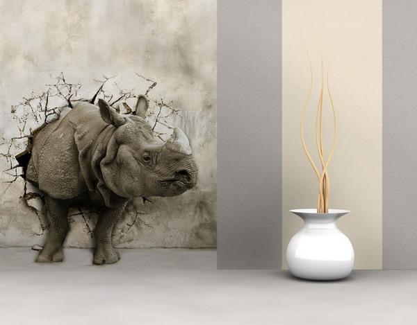 کاغذ دیواری سه بعدی با طرح حیوانات