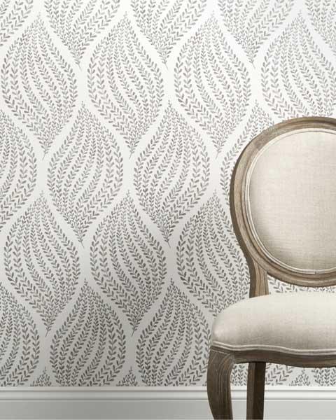 کاغذ دیواری آشپزخانه با ترکیبی از گیاهان و طرح های هندسی