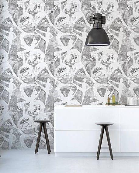 کاغذ دیواری آشپزخانه سیاه و سفید