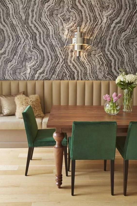 کاغذ دیواری اتاق ناهارخوری با طرح عقیق