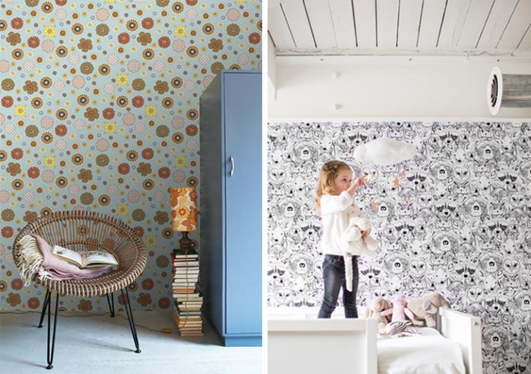 کاغذ دیواری دخترانه با طرح طبیعت و حیوانات2